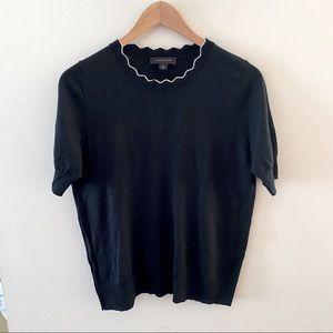 Ann Taylor Short sleeve sweater black & white M